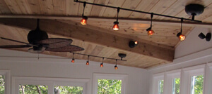 Hanging lights and ceiling fan