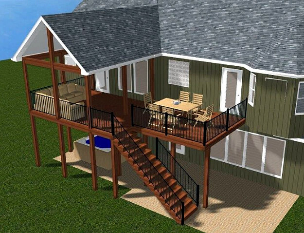 Open porch and deck 3D design