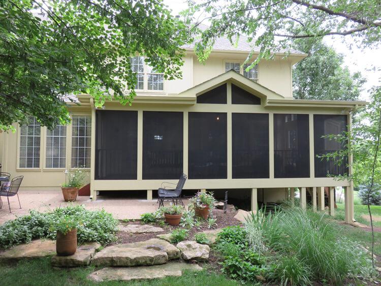 Exterior view of custom screened porch