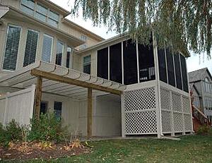 Custom screened porch and patio with pergola