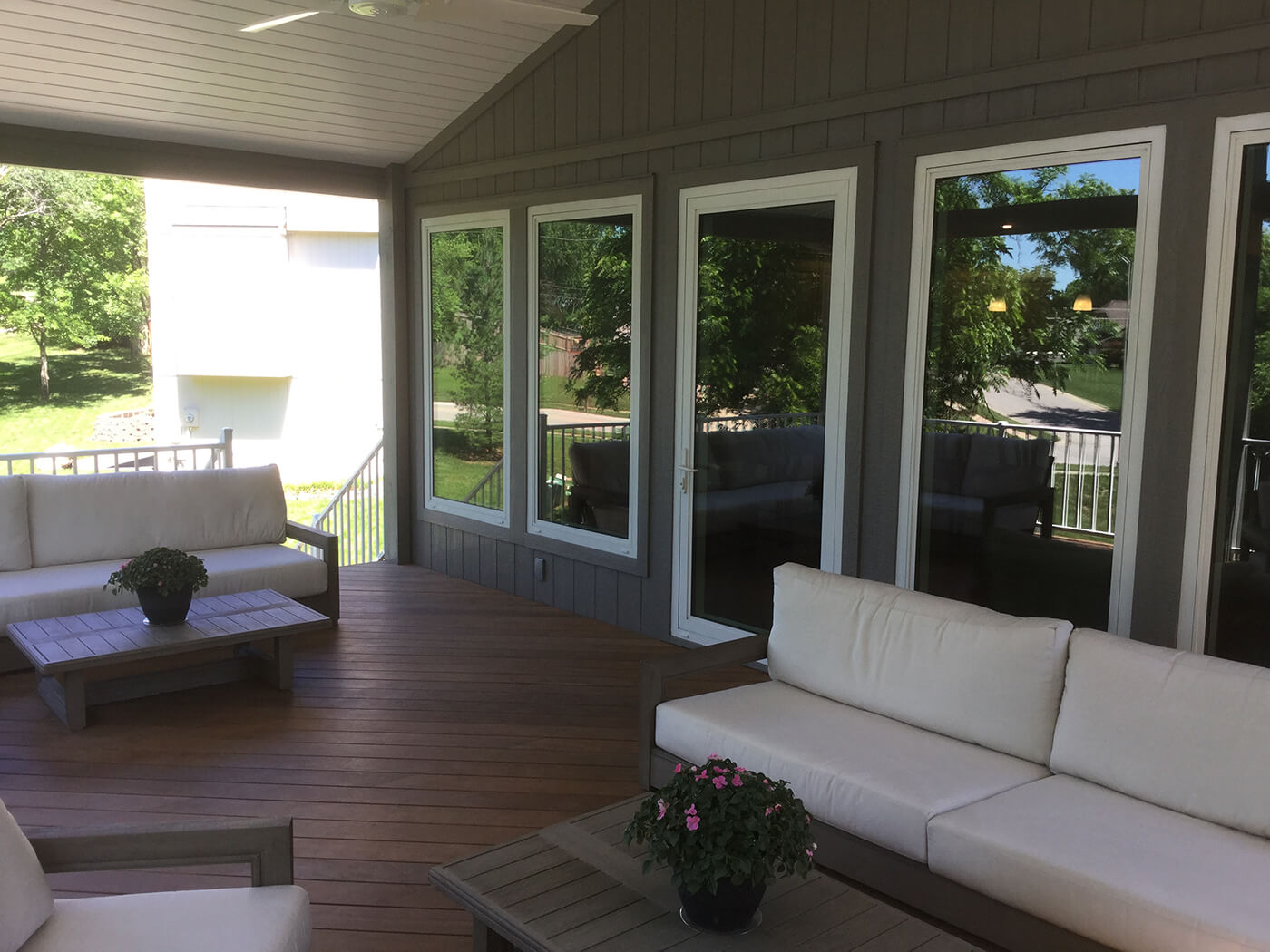 Seating area on porch