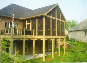 screened porch and outside deck on second level