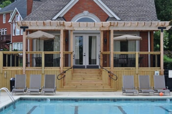 Poolside wooden deck