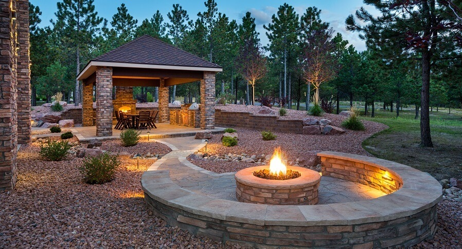 Covered patio and fire pit