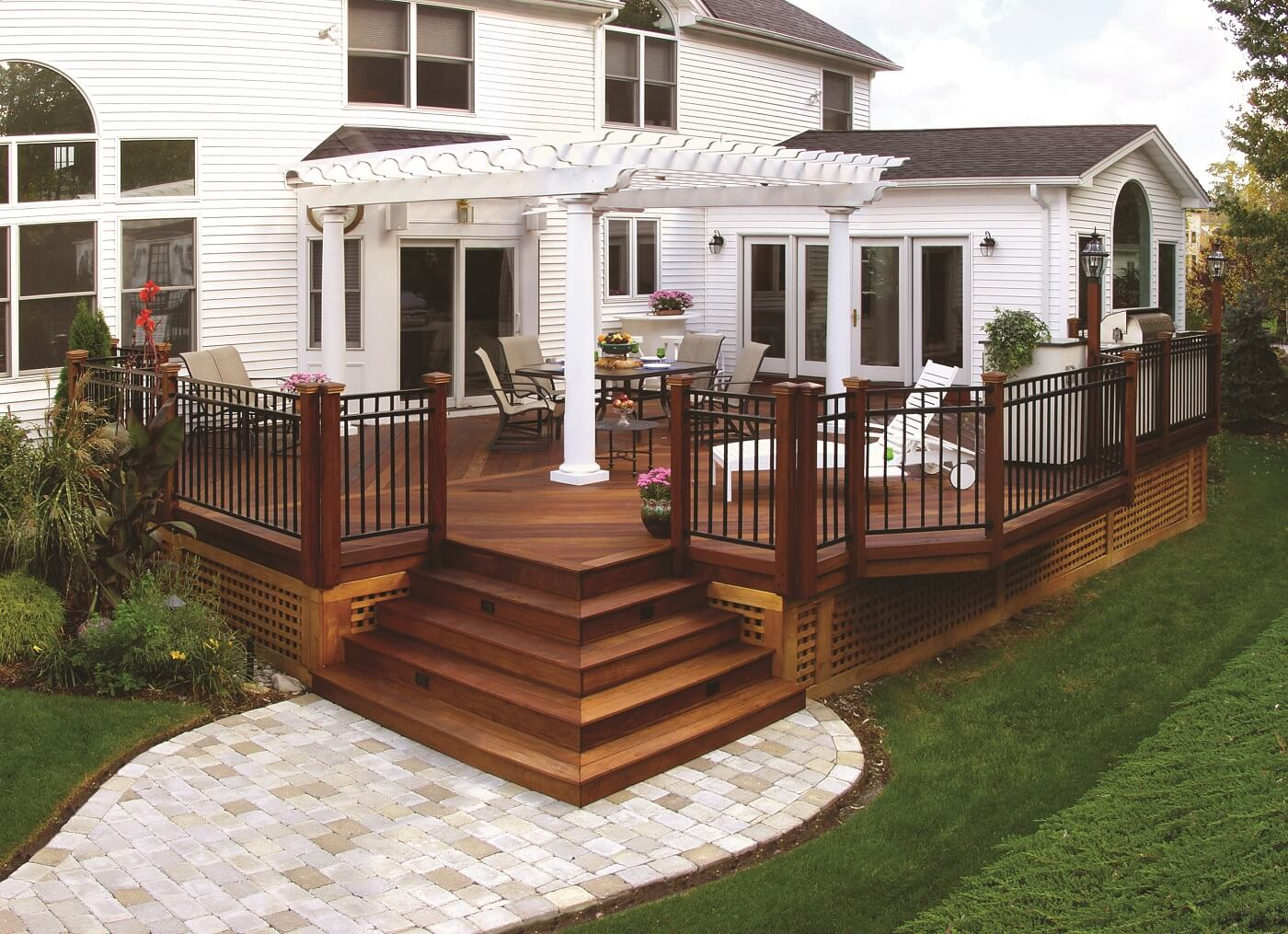 wooden deck with railings