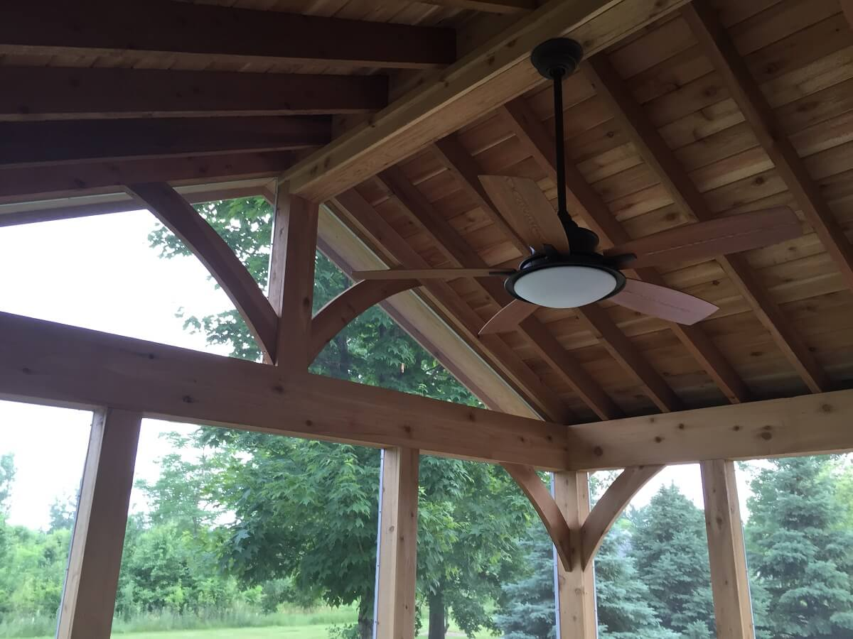 porch ceiling with fan