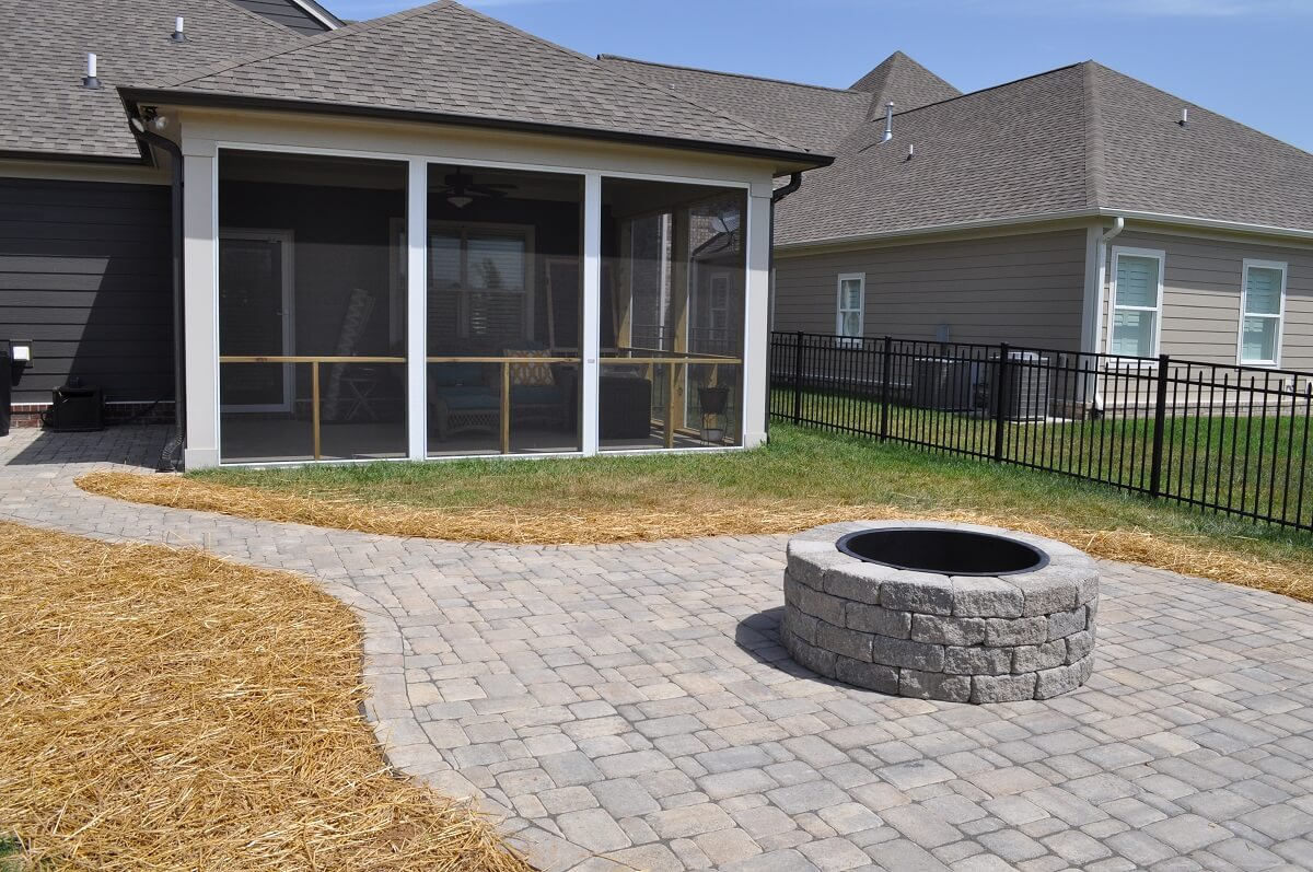 Screened porch and patio with fire pit