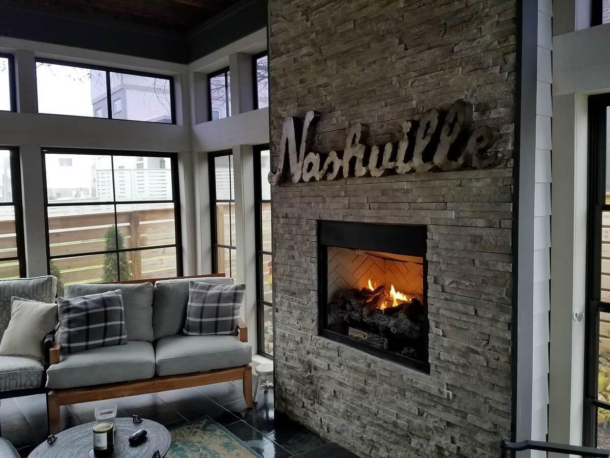Fireplace on three season room