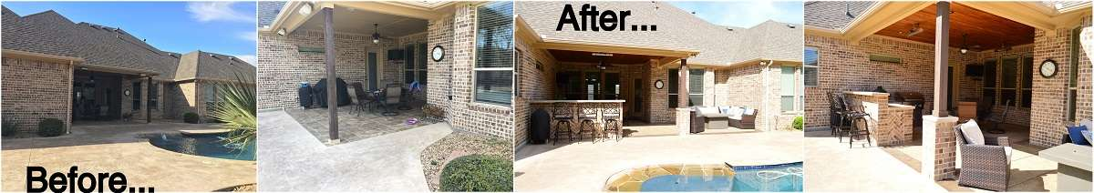 Before and After Outdoor Covered Patio and Kitchen