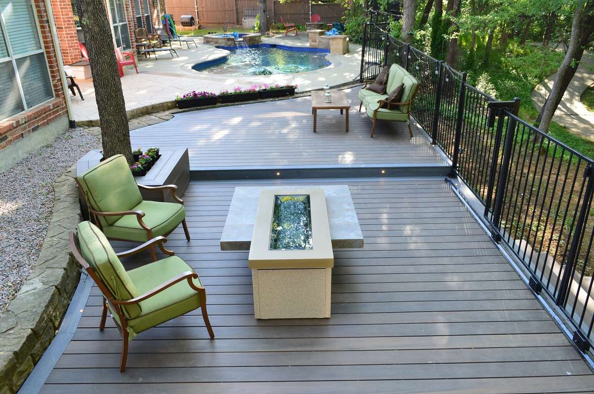 Outdoor poolside deck patio area