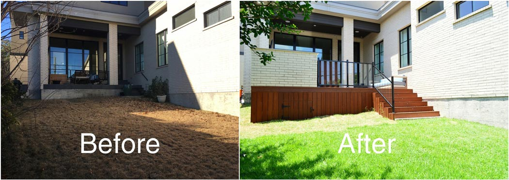before and after of custom patio deck with outdoor kitchen