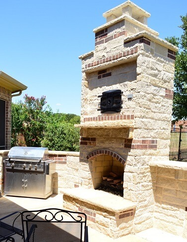 Outdoor fireplace and chimney in Euless, Texas