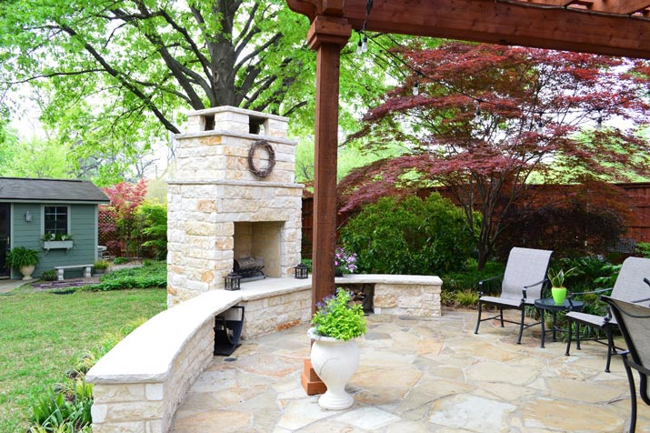 Patio extension with fireplace