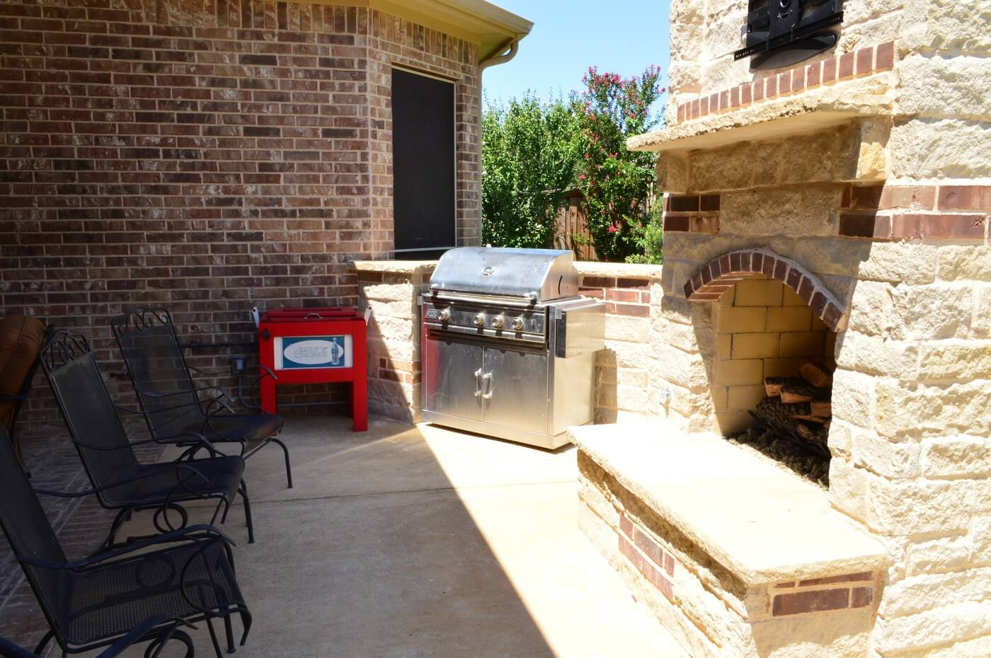 Outdoor kitchen and seating area