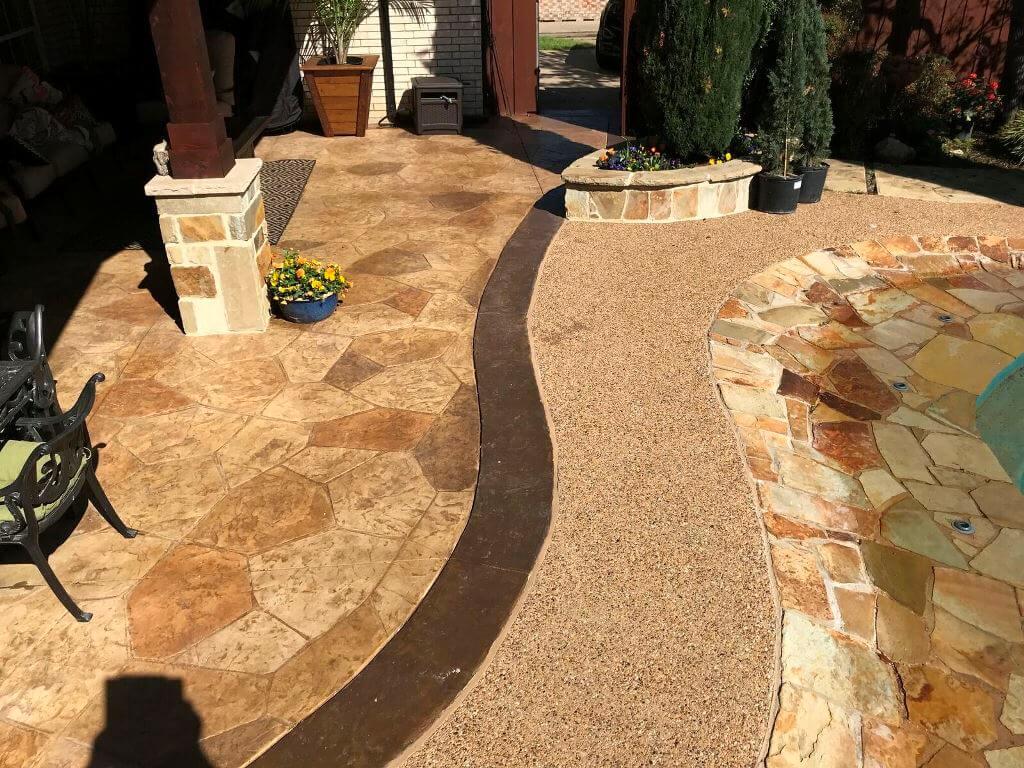 Poolside patio floor details