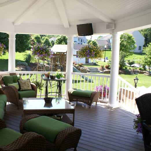 Deck with patio furniture & a covering