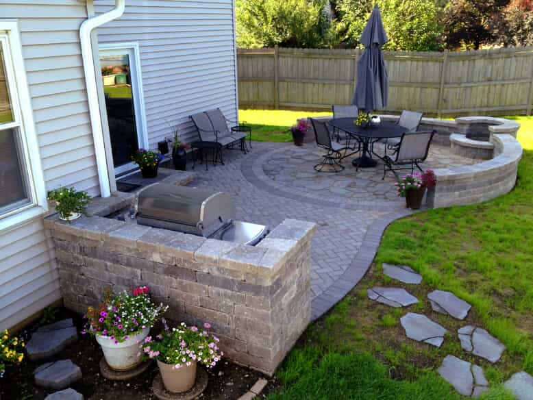 Patio with barbecue and outdoor furniture