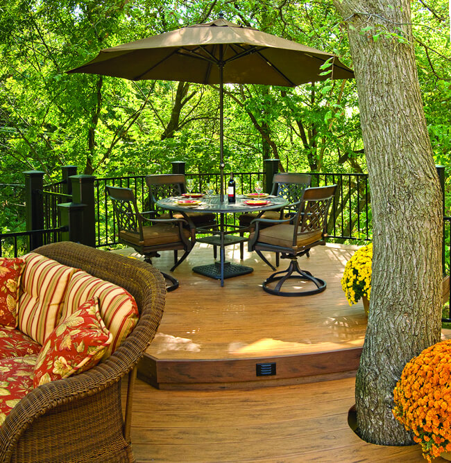 composite deck around tree