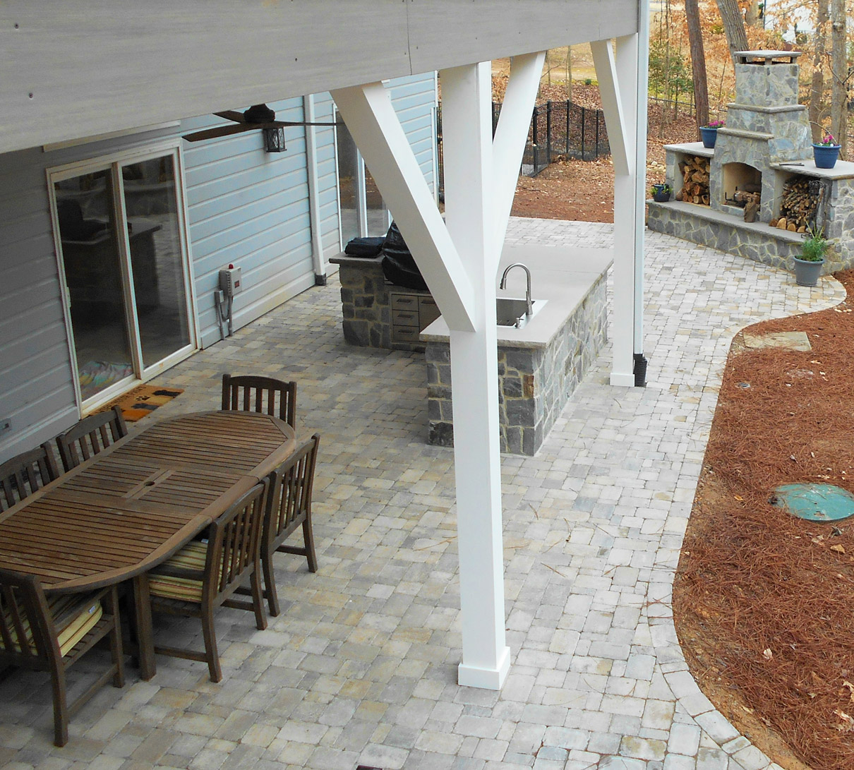 Deck and patio with firepit