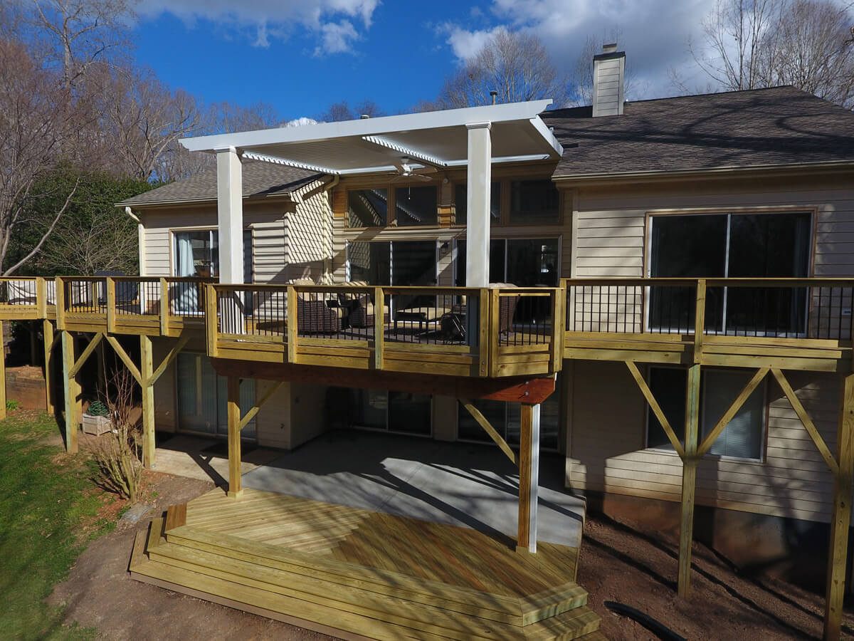 Arcadia Louvered Pergola Cary on Deck with TimberTech Dryspace