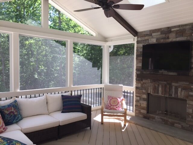 Durham Three Season Porch with Outdoor Fireplace