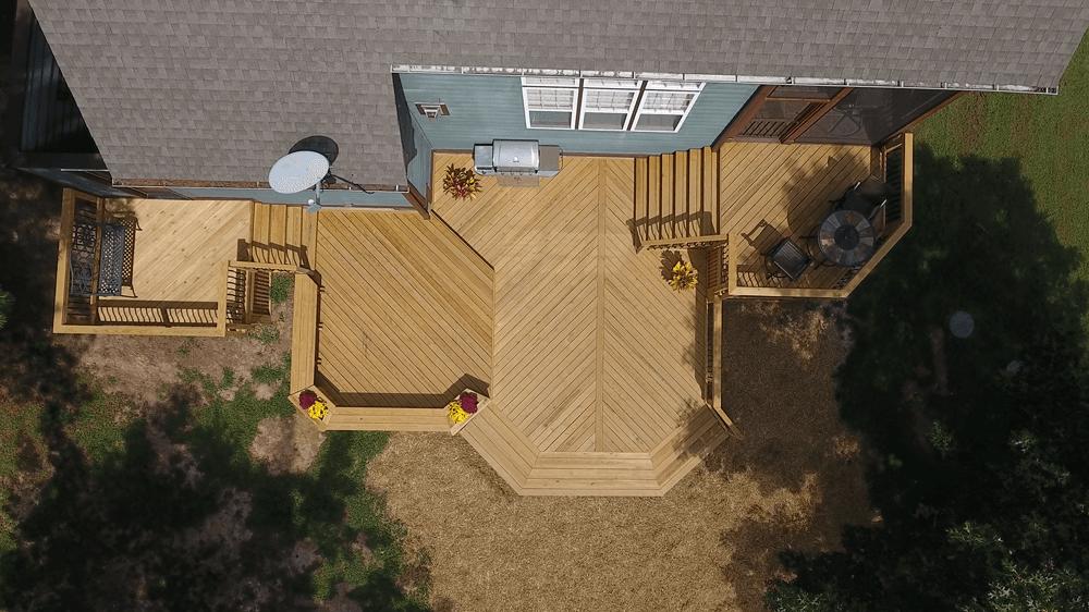 Custom multi-level deck top view