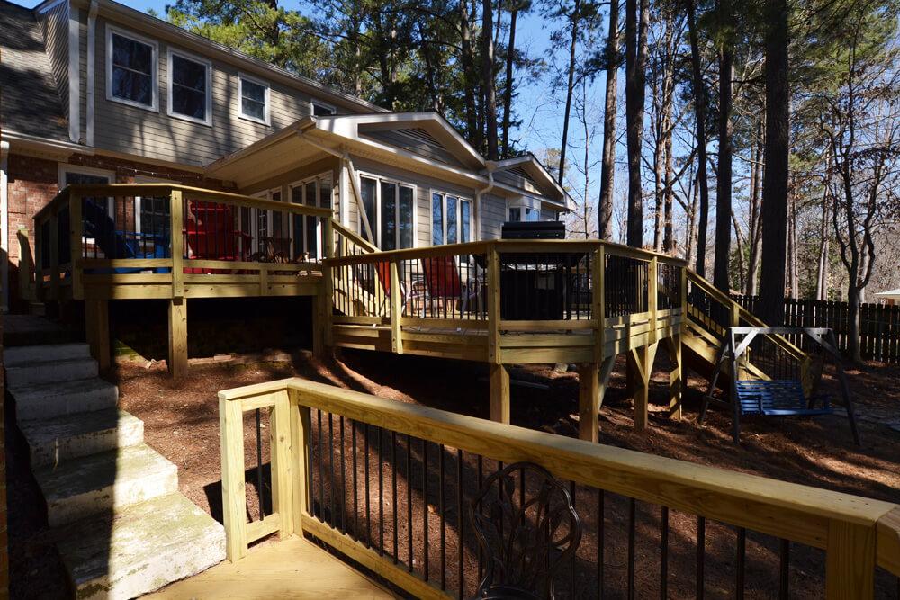 multi-level wood decks are trending