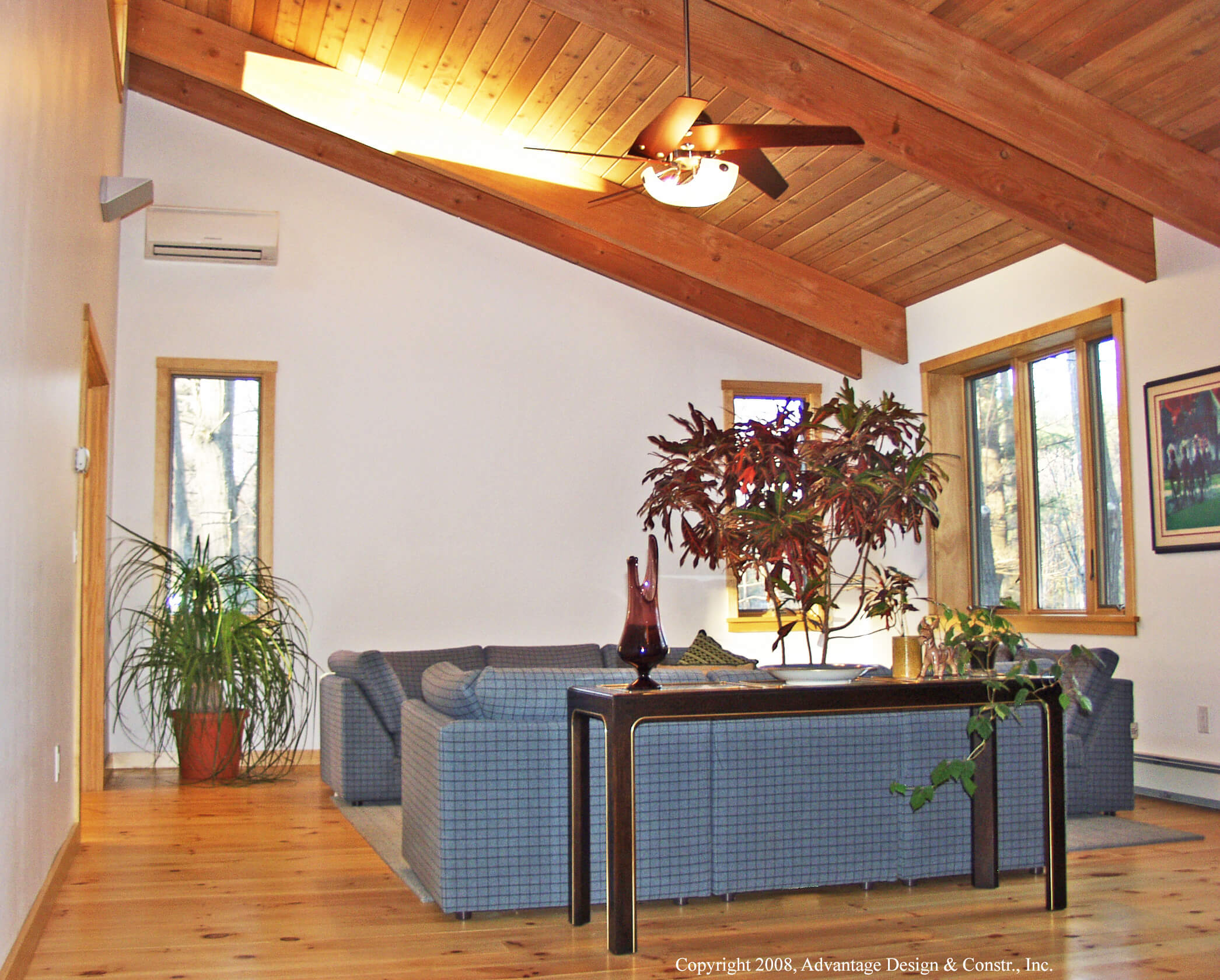 foyer with fir rafters
