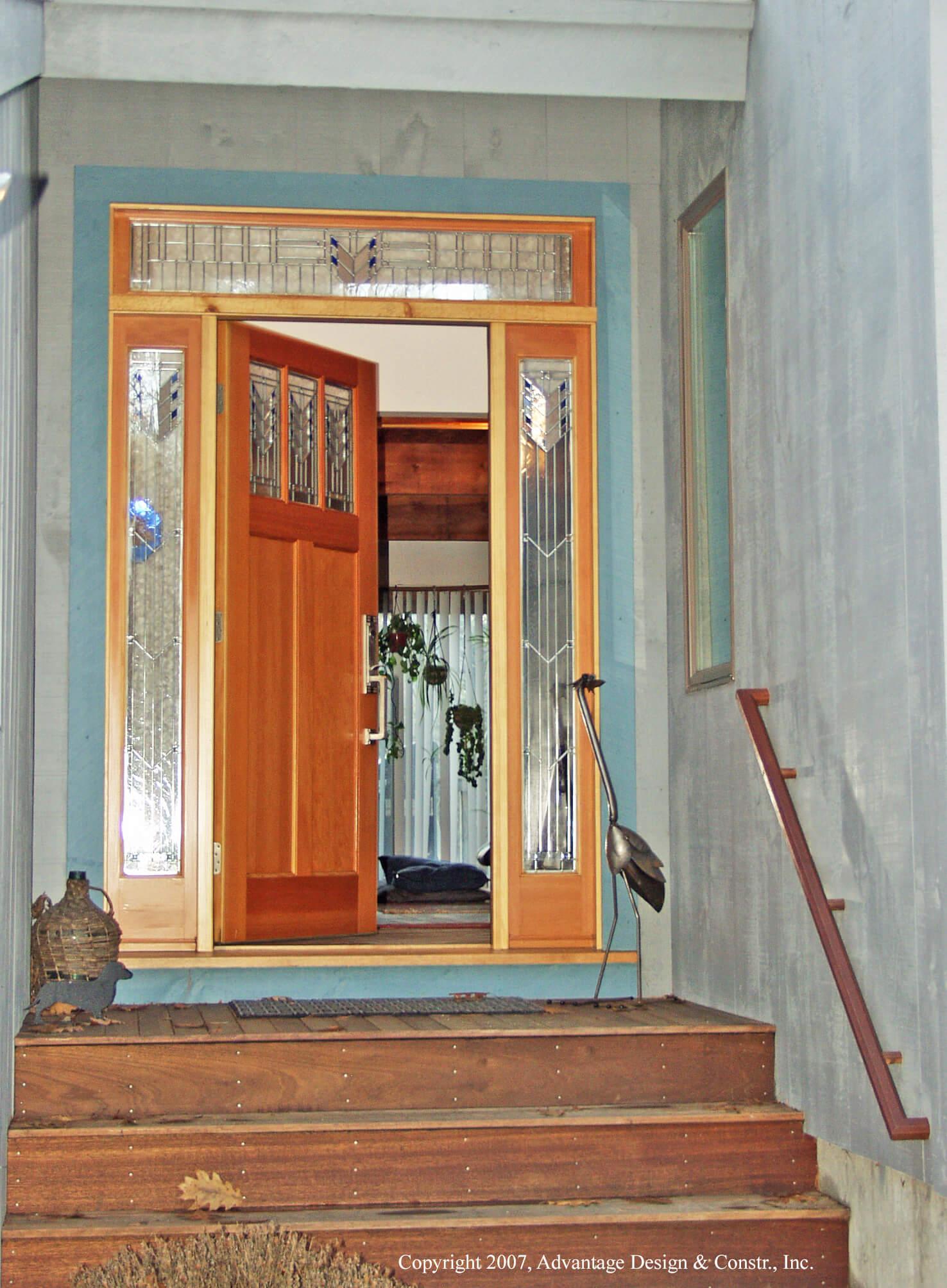 Stairway leading to open door