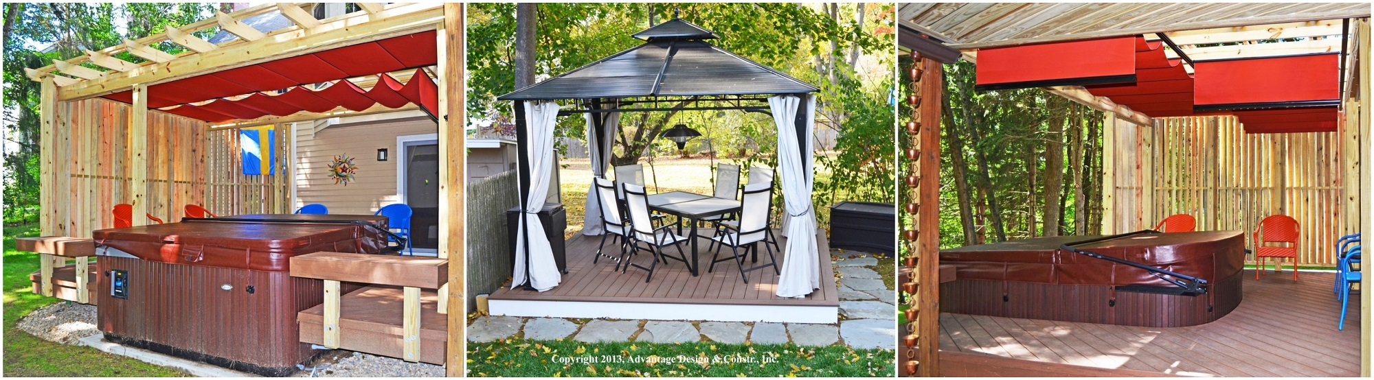 3 images of outdoor patio