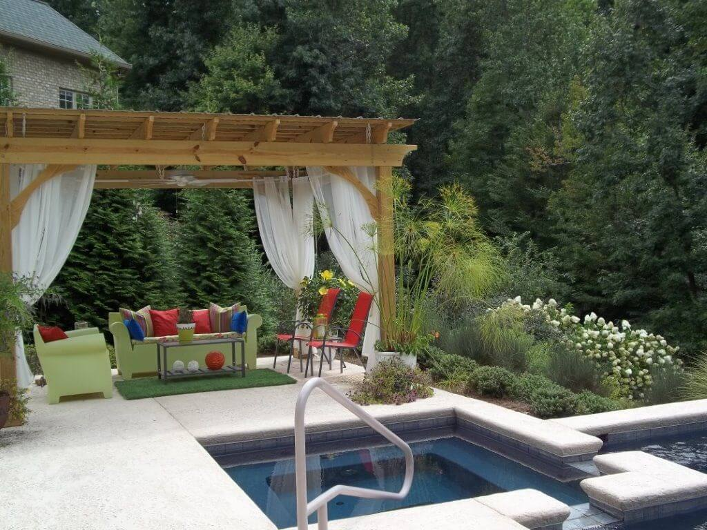 spa pool with pergola and couch