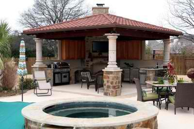 covered patio with fire pit