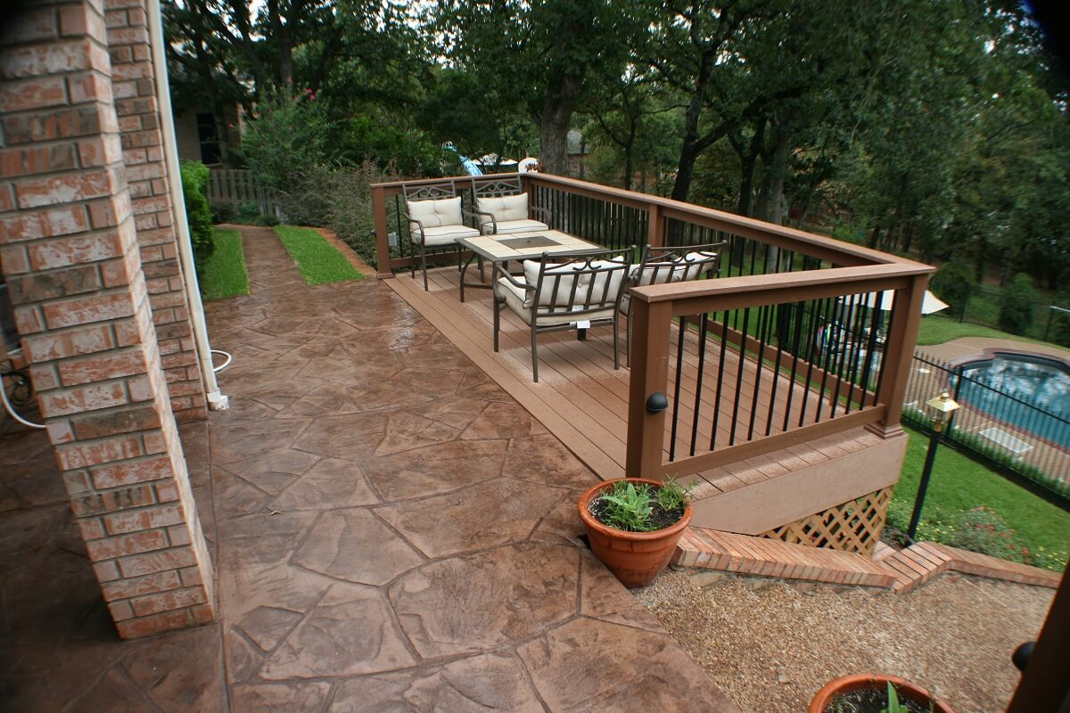 deck and patio with railings