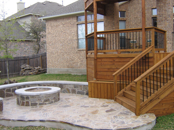 Covered deck and firepit