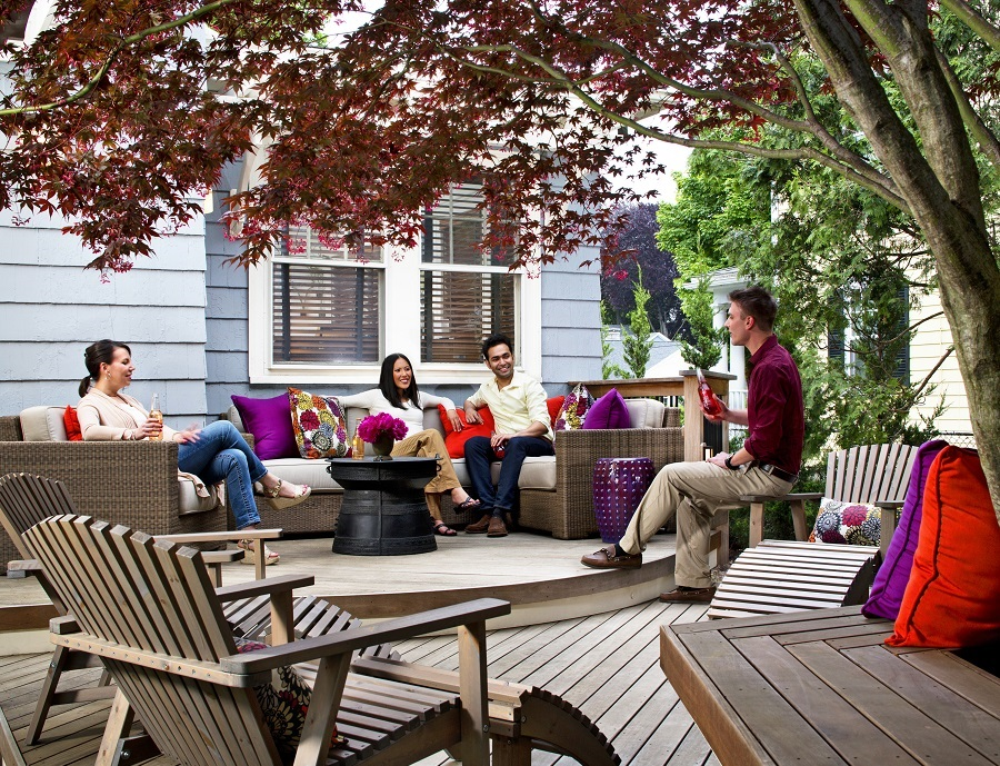 people gathering on a outdoor deck