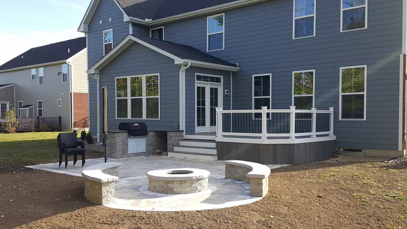 Timbertech deck with built in firepit