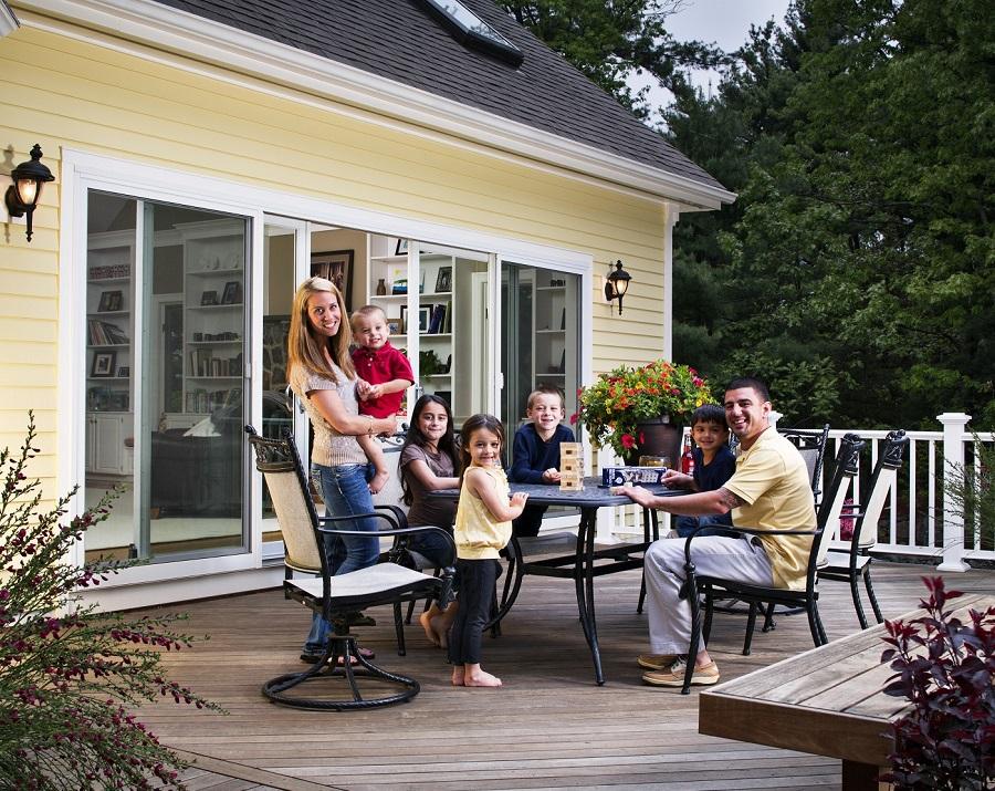 Family enjoying their deck