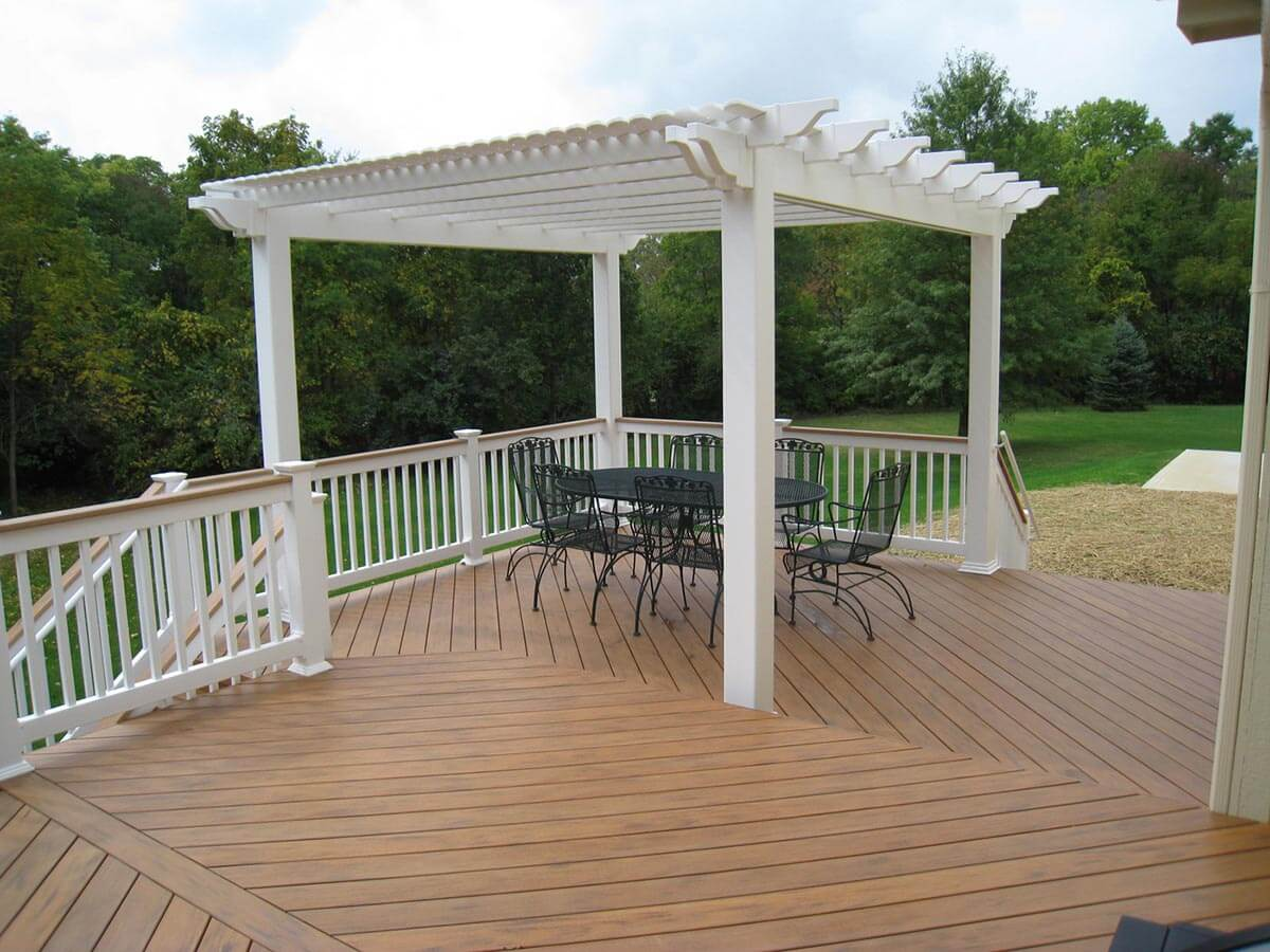 White pergola on a deck