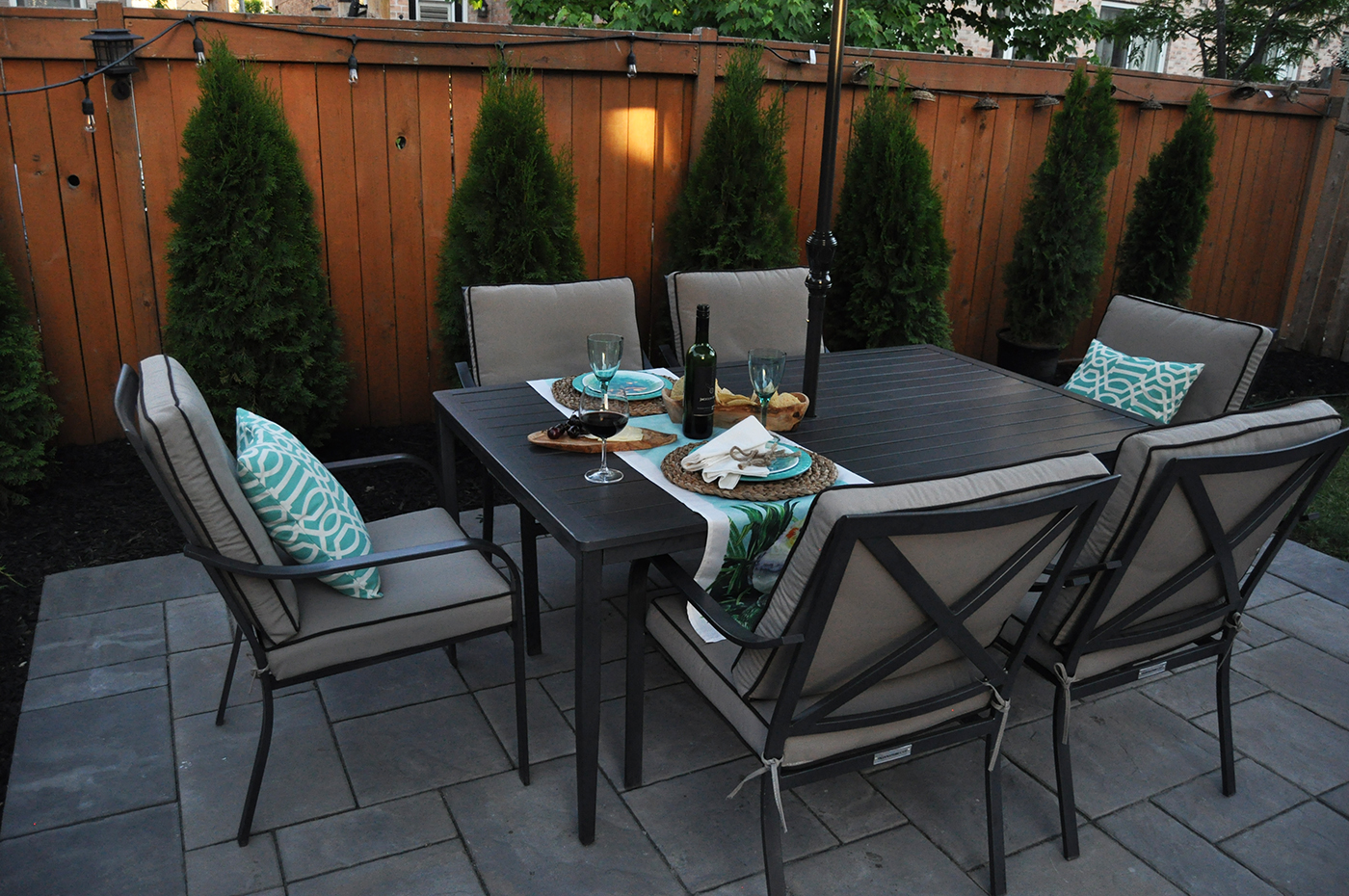 New Unilock patio with table and chairs.