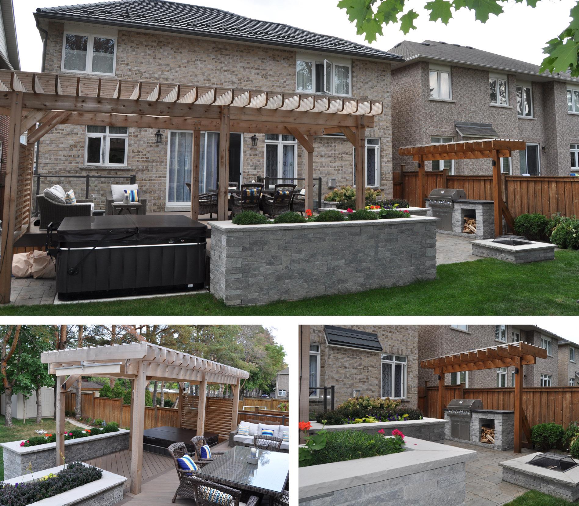 Brick homes with backyard pergolas.