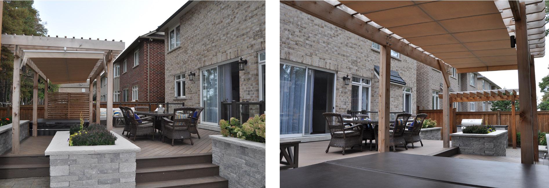 Outdoor living spaces under pergolas.