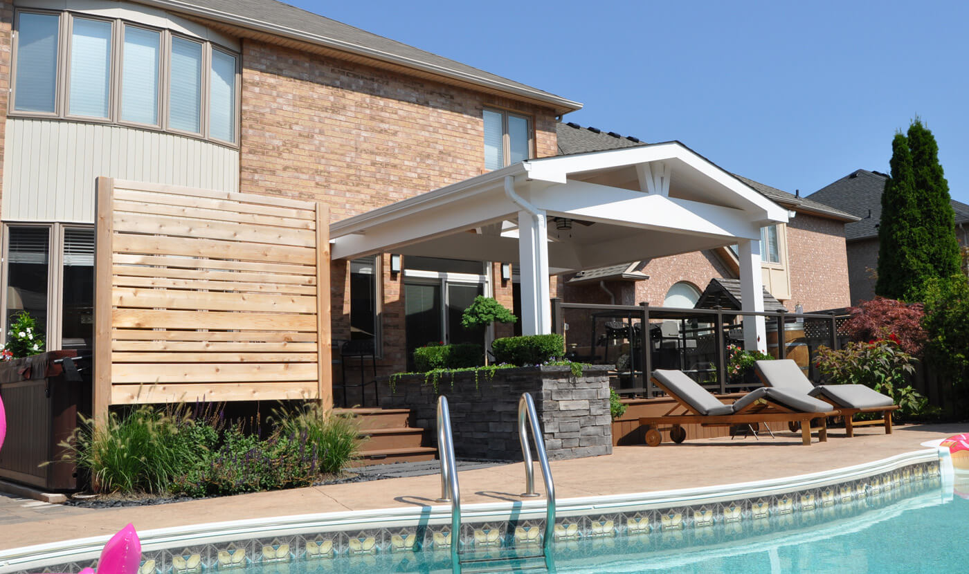 Custom open porch in the poolside with deck