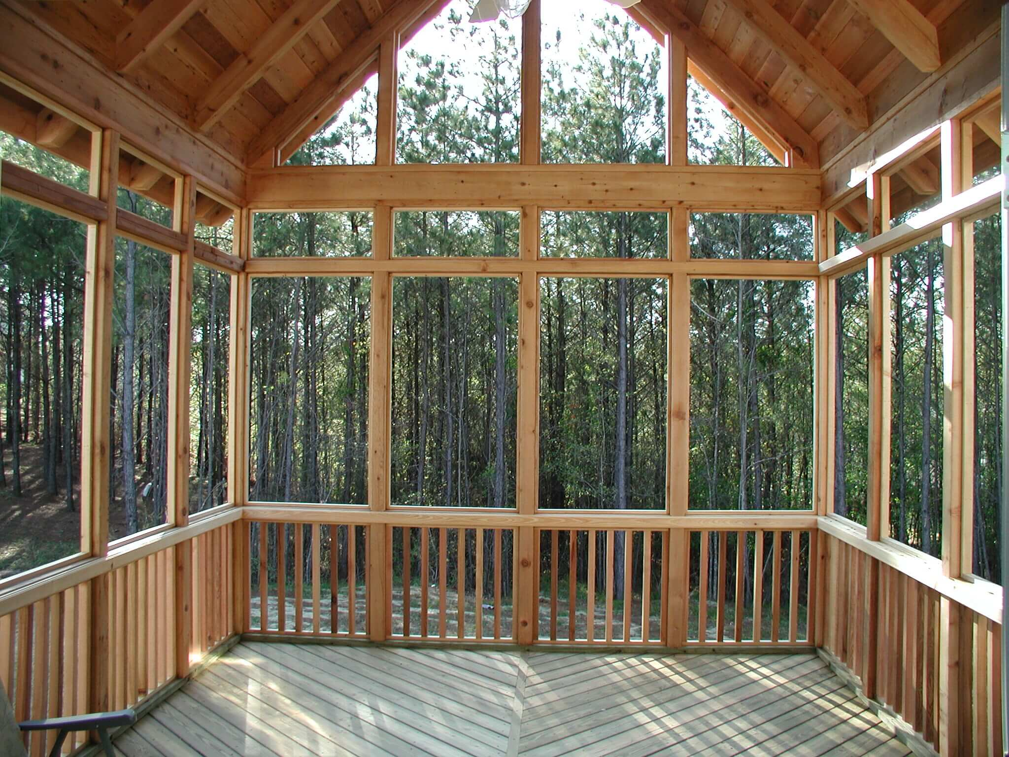 Custom wooden screen porch