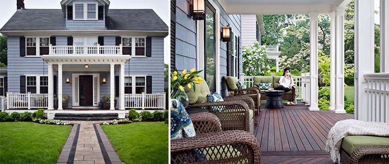 beautiful home with front deck and green grass